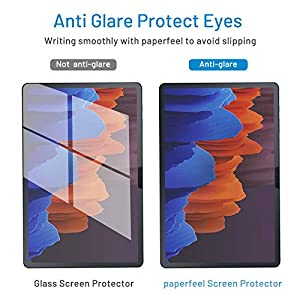 MOBDIK[2 PACK]Paperfeel Screen Protector for Samsung Galaxy Tab S7 Plus Screen Protector 12.4 inch, Paperfeel Tab S7 Plus Matte Screen Protector Anti-Glare Bubble-Proof Scratch-Resistant with Easy Installation Kit Writing and Drawing Like on Paper (Color: Transparent)