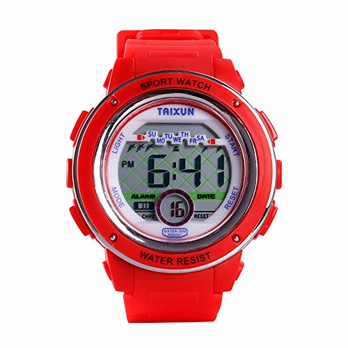 TAIXUNKids Cool Outdoor Sports Watch LED Digital Water Resistant Electronic Wrist Dress Watch with Stopwatch Resin Adjustable Band for Boys Girls Red
