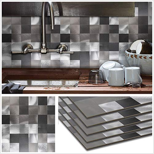 (HomeyStyle Peel and Stick Tile Backsplash for Kitchen Wall Decor Metal Mosaic Tiles Sticker,Black&Grey Plaid 12