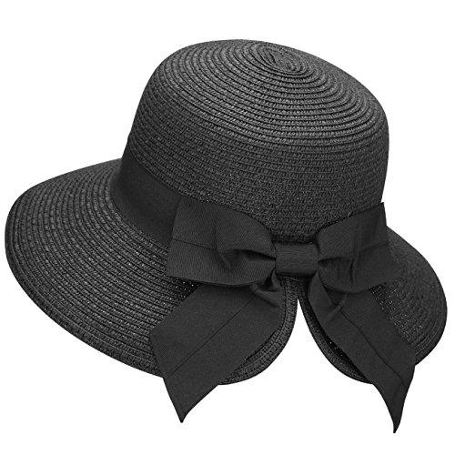 Verabella Straw Bonnet Womens Foldable Straw Sun Wide Brim Beach Straw Hat,Black