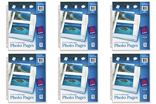 Horizontal Photo Cards - Avery Horizontal Photo Pages, Acid Free, 4 x 6 Inches, Pack of 10 (13406), 6 Packs