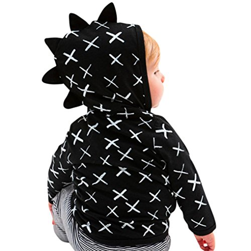 Price comparison product image TiTCool Toddler Baby Boys Girls Dinosaur Cross Pattern Zip Jacket Black Coat Clothes (3T,  Black)