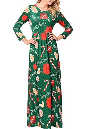 Coolred-femmes Imprimer Empire Noël Manches Longues Taille Pleine Longueur Robe As10