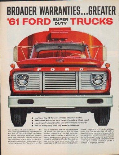 1961 Ford Trucks Ad Broader Warranties Greater Durability