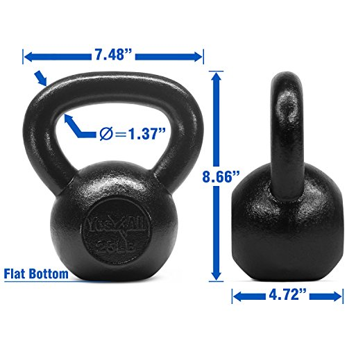 Yes4All Solid Cast Iron Kettlebell Weights Set – Great for Full Body Workout and Strength Training – Kettlebell 25 lbs (Black) by Yes4All (Image #2)