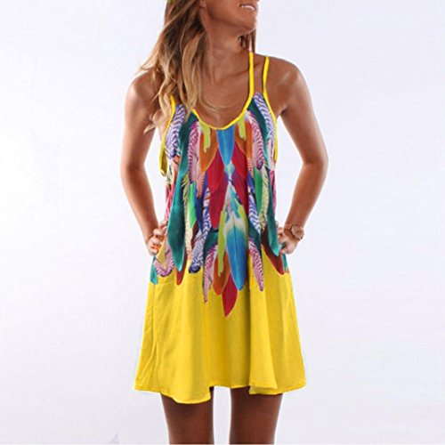 Malloom occasionnels imprim Femmes Robe Boho Sundress Cocktail t Beach parti Jaune HwqHUI5