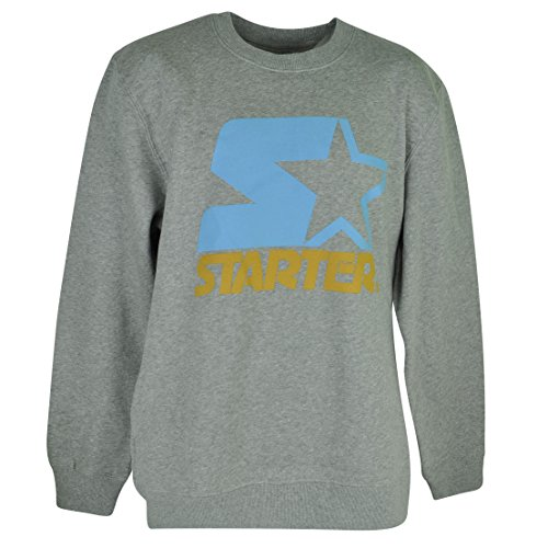 Starter Wordmark Pullover Sweater Gray Mens Adult Winter Crew Neck Fleece Large (Starter Hoodie Men compare prices)