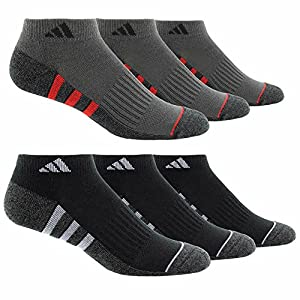 Adidas Men's 6-pair Low Cut Sock with Climalite White Black Regular and Extended Sizes (Regular, Black)