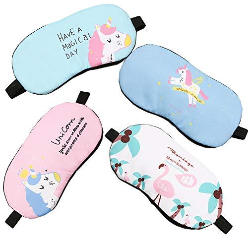Fashion Unicorn Flamingos 4Pcs Sleep Mask Cover Lightweight Blindfold Soft Eye Mask for Men Women Kids by Yosbabe