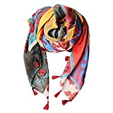Mose Blog Hit Mosaic Fringed Ears Elegant Thick Cotton Scarf(Yellow And Red Color)