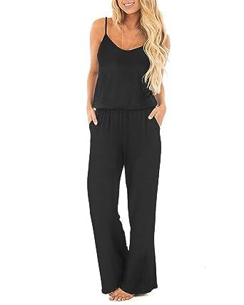 57ce78481aa5 OUGES Women s Plain Sleeveless Racer Back Wide Leg Pant Jumpsuits Romper(Black  ...