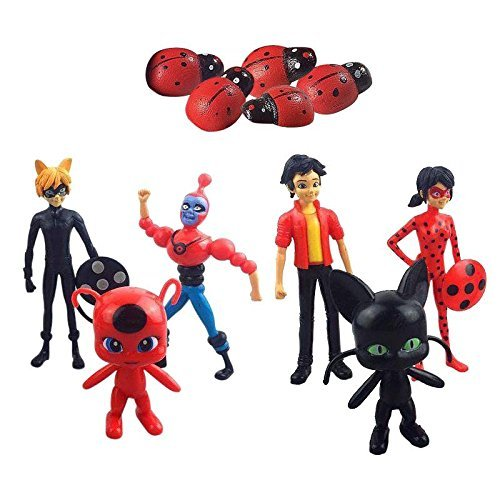 BigZ 6 PCS Miraculous Ladybug PVC Action Figures Adrien Cat Noir Plagg Tikki Doll Cake Topper Kids Toy (Ladybug Cat Toy)