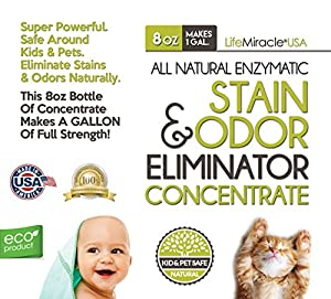 Enzyme Cleaner CONCENTRATE - All Natural Pet Stain Remover & Odor Neutralizer - The Best Carpet Cleaning, Rug, Clothing, Dog & Cat Urine Spot Eliminator. Concentrate Makes a GALLON (128 oz) Of Product
