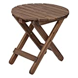 Shine Company Rustic Round Folding Table, Rustic Wine