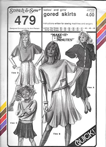 Stretch & Sew Sewing Pattern 479 gored skirts (Ladies hip size 32-48) (Stretch Gored Skirt)