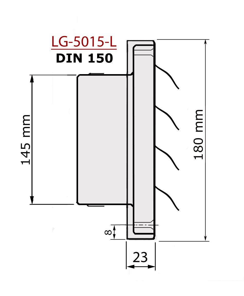 Edelstahl Überdruck Abluftgitter LG-5015 L für Rohranschluss Ø DIN ...