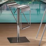 Zuo Modern Dazzer Barstool, Brushed Stainless Steel