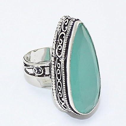 Amazon.com: Mar azul calcedonia anillo plata Overlay Joyería ...