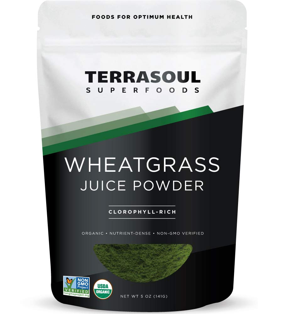 Terrasoul Superfoods Organic Wheat Grass Juice Powder, 5 Ounces - USA Grown | Made From Concentrated Juice | Superior to Wheatgrass