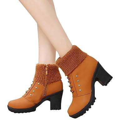 ❤ Botas Cortas de Invierno Mujer tacón Alto, cálido Impermeable Mujer Damas Cuadrado Tacón Alto Cristal Tobillo Zapatos Botas Cortas Bootie Absolute: ...