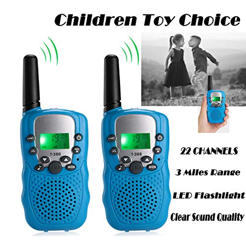 UPBASICN Kids Walkie Talkies, 22 Channel 2 Way Radio 3 Miles Handheld Mini Walkie Talkies with Flashlight and LCD Screen,Perfect for Children(1 Pair,Blue)
