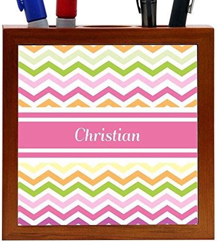 Rikki Knight Christian Pink Chevron Name Design 5-Inch Wooden Tile Pen Holder (RK-PH6562)