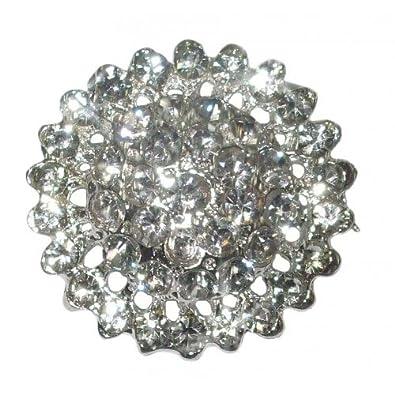34mm Round Fashion Brooch Broach Pin Badge Crystal Diamante Wedding Bridal IMZRJK0d