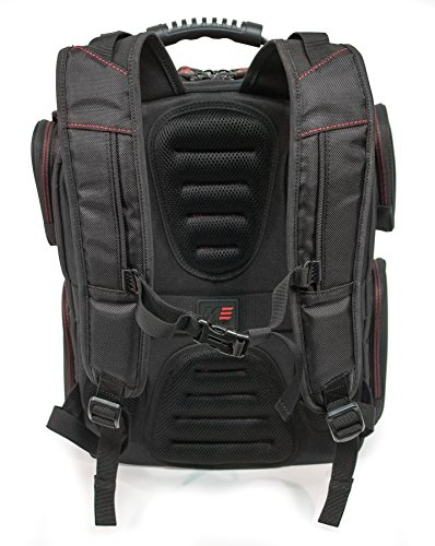 Mobile Edge - Core Gaming Backpack with Molded Front Panel 17''-18'' - Black with Red Trim (MECGBP1) by Mobile Edge (Image #2)