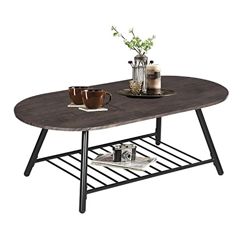Coffee Table Wooden Industrial Feel Round Cocktail Table with Lower Metal Frame Vintage for Living Room Bedroom Home and Office, Walnut