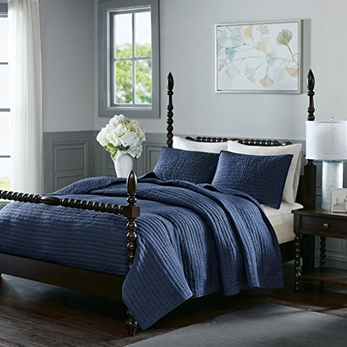 Madison Park Signature Serene Cotton 3 Piece Coverlet Sets (Full/Queen 92x96, Blue) - Blue Garden Bed Ensemble