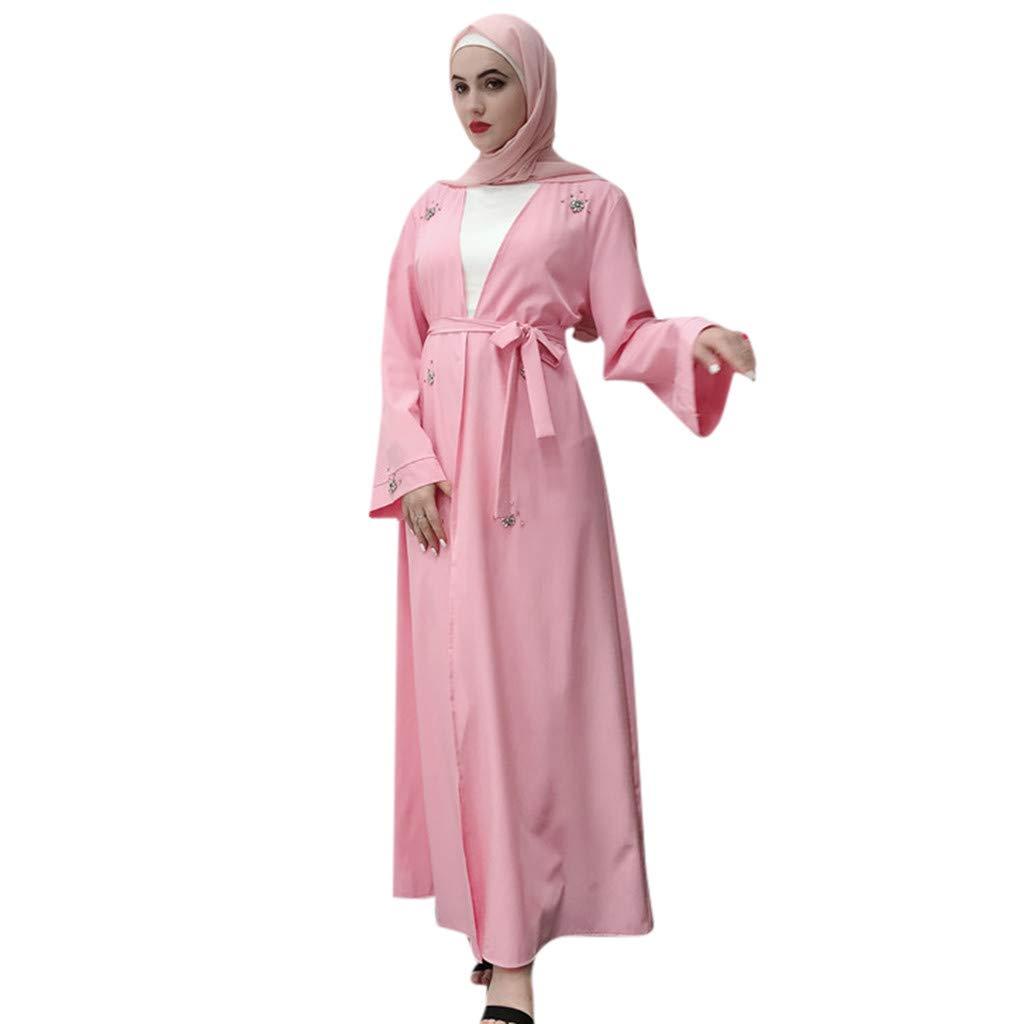 Sayhi Muslim Fashion Women's Beaded Cardigan Robes Arabian Traditional Loose Dress Slamic Dresses(Pink,XL) by Sayhi (Image #1)