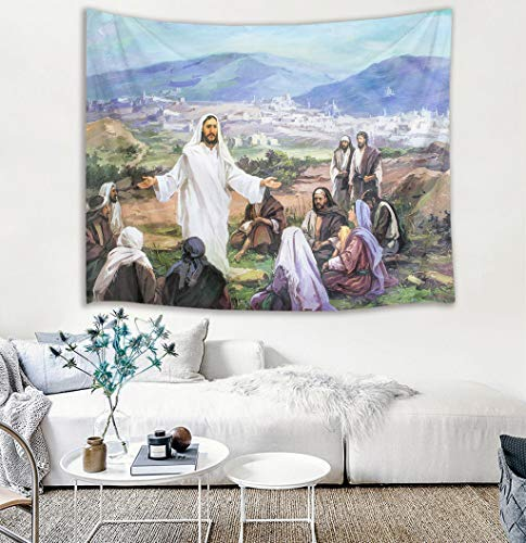 Tapestry Jesus Christ and Believers on Mountain Wall Hanging Religious Tapestries for Bedroom Living Room Dorm Decor,60Wx40H inches ()