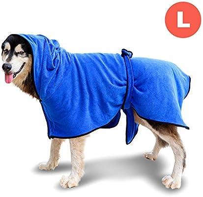 GiBot Ropa para Perro, Secado rápido de microfibra y Hidrófugo Toalla seca para baño Toalla Absorbente Súper Suave para Perros y Gatos, Grande, 58.5cm, Azul