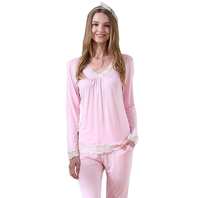 Baymate Pijamas para Mujer Suave Manga Larga Encaje Camisones y Pantalones Largos