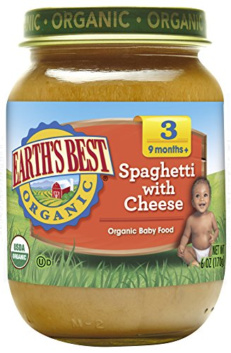 Spaghetti Dinner - Earth's Best Organic Stage 3 Baby Food, Spaghetti with Cheese Dinner, Non GMO Ingredients, 6 Oz Jars (Pack of 12)