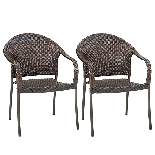 Outdoor Wicker Stacking Chairs Set of 2 | Best Selling Patio Chair ! -