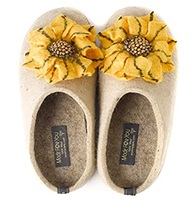 Made For You Wool Slippers for Women with Handmade Daisy Flower, Comfortable with Non-Slip Rubber Sole and Arch Support Insole