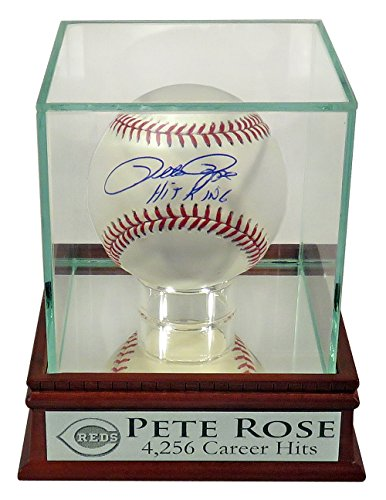 "Cincinnati Reds Pete Rose Autographed Official MLB Baseball w/ ""Hit King"" inscription w/ ""4,256 Career Hits"" Case (COA)"