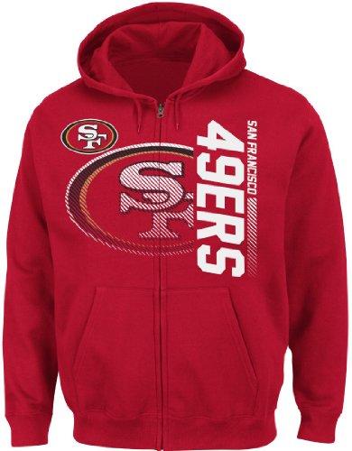 Athletic Majestic Hood (San Francisco 49ers Majestic NFL Touchback V Full Zip Hooded Sweatshirt - Red (SM))