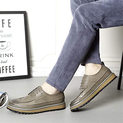 Brogues Brogues Qiusa Hombres cómodos 43 Cordones EU y tamaño Zapatos Punta Redonda para con Casuales Zapatos Zapatos con Gris Color cómodos rZ0qRt0w6x