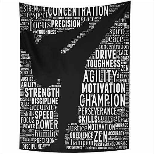 Ahawoso Tapestry 60x80 Inch Collage Training Essence Martial Arts Text Graphics Karate Sports Recreation Kickboxing Leadership Wall Hanging Home Decor for Living Room Bedroom Dorm