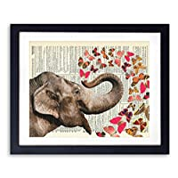 Elephant With Butterflies #2 Upcycled Wall Art Vintage Dictionary Art Print 8x10 inches / 20.32 x 25.4 cm Unframed