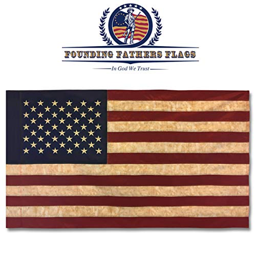 (Founding Fathers Flags Embroidered Vintage American Flag - Premium Quality Oxford Polyester - 3'x5' w/Sleeve)