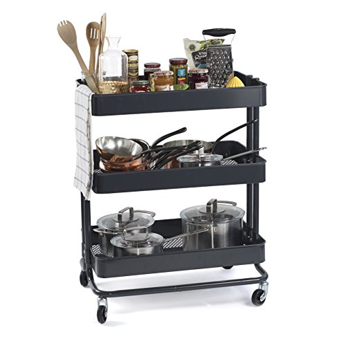Multipurpose Rolling Utility Cart Ideal for Arts and Crafts Bar Storage Kitchen Bathroom or Nursery Metal Dark Gray Large 24 Inch