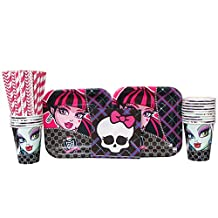 Monster High Party Pack for 16 Guests: Straws, Dessert Plates, Beverage Napkins, and Cups