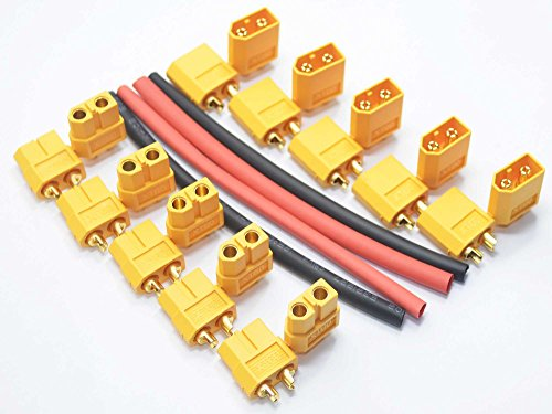 10 Pair XT60 XT-60 Male Female Bullet Connectors Power Plugs with Heat Shrink for RC Lipo Battery 10 Male + 10 Female