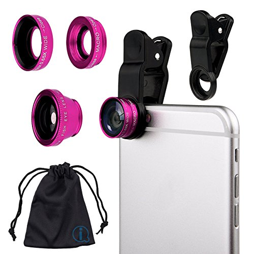 Pink Clip On 180 Degrees Portable 3 in 1 Camera Lens Kit - FishEye - Wide Angle - Macro for LG E900 Optimus 7