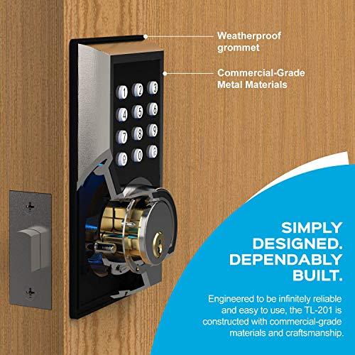 TURBOLOCK TL-201 Electronic Keypad Deadbolt Keyless Entry Door Lock w/Code Disguise, 21 Programmable Codes, 1-Touch Locking + 3 Backup Keys, Bronze by TURBOLOCK (Image #2)