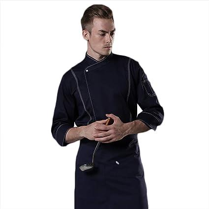 WYCDA Camisa de Cocinero Cocina Uniforme Manga Larga Azul ...