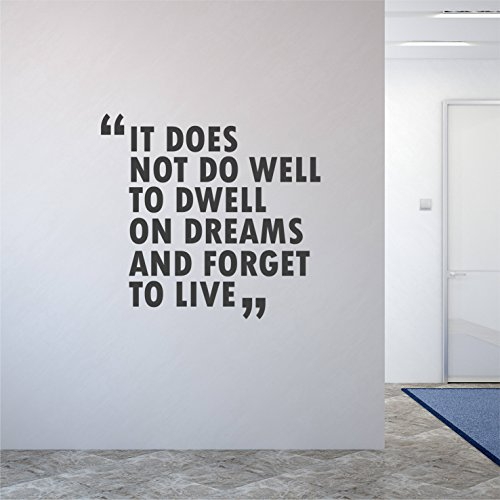 Kiskistonie Wall Sticker Decor, It Does Not Do Well Dwell On Dreams and Forget to Live Wall Decor Sticker Quote 135cm(53